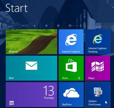 Windows 8 Start - Gadwin printscreen