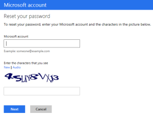 chnage Microsoft password
